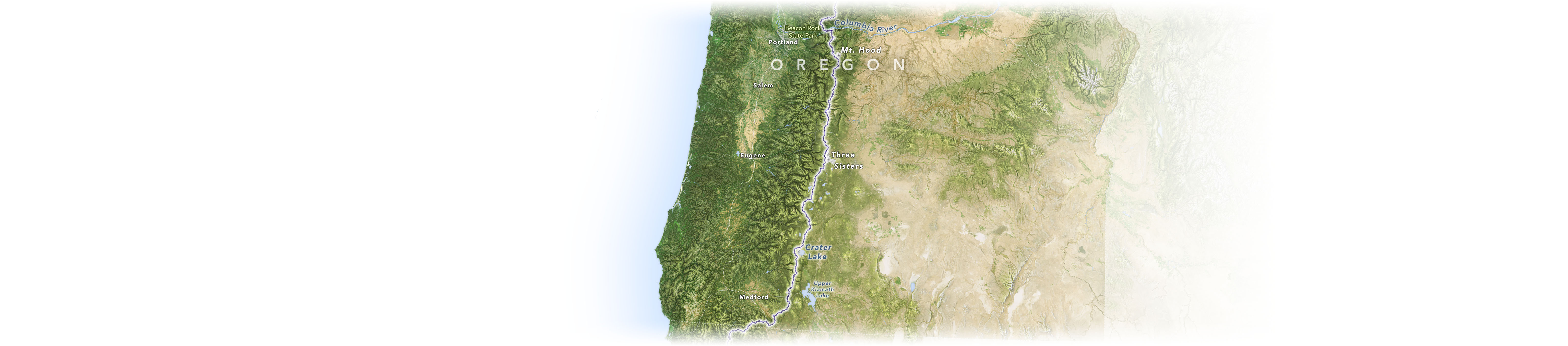 A map of the Pacific Crest Trail and nearby landmarks in the state of Oregon.