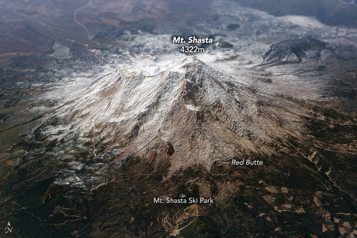 A satellite image of Mt. Shasta.