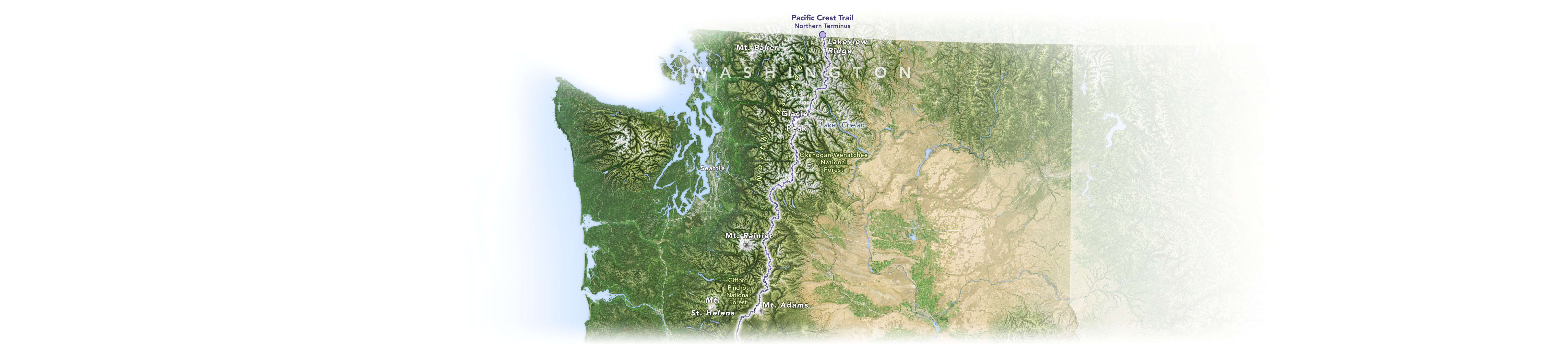 A map of the Pacific Crest Trail and nearby landmarks in the state of Washington.