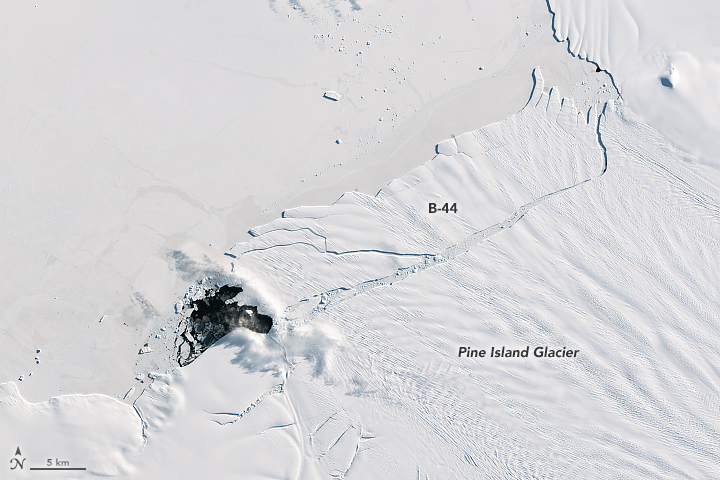 This image shows the recently calved iceberg B-44, on September 28, 2017.