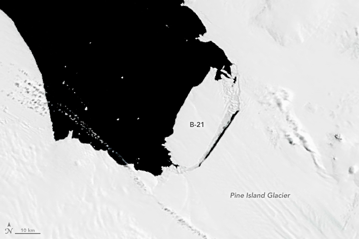 An image of a rift in the glacier visible on September 10, 2000, in images from NASA's new Terra satellite, but the cracking probably started in the darkness of austral winter.