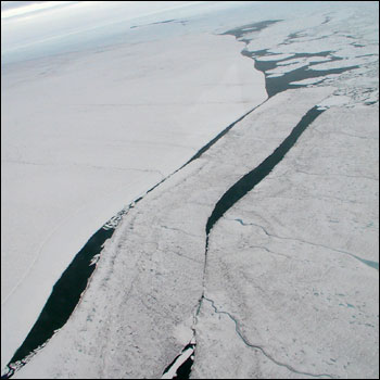 Ice island moving into the Arctic