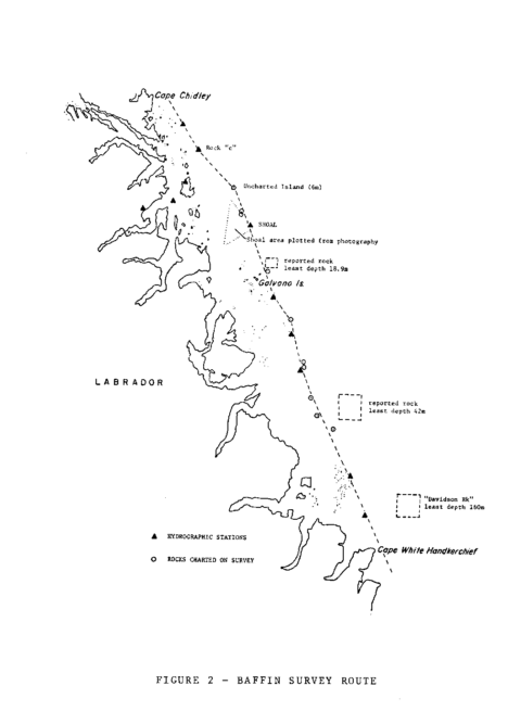 CSS Baffin survey of the coast of Labrador from 59°15'N to 60° 25'N during 1976 to chart offshore features and check reported rocks. Image courtesy of Betty Fleming.