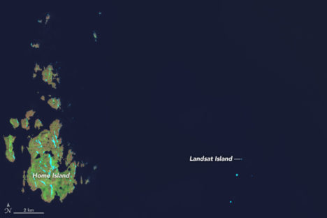 This satellite image of Landsat Island captured on July 15, 2014, by the Operational Land Imager (OLI) on Landsat 8. The island spans no more than a pixel or two. Image credit: NASA Earth Observatory/Joshua Stevens