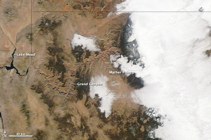 NASA Earth Observatory has existed for just one-fifth the time of Grand Canyon National Park, but over those 20 years, satellites and astronauts have captured some magnificent views of the park from above.