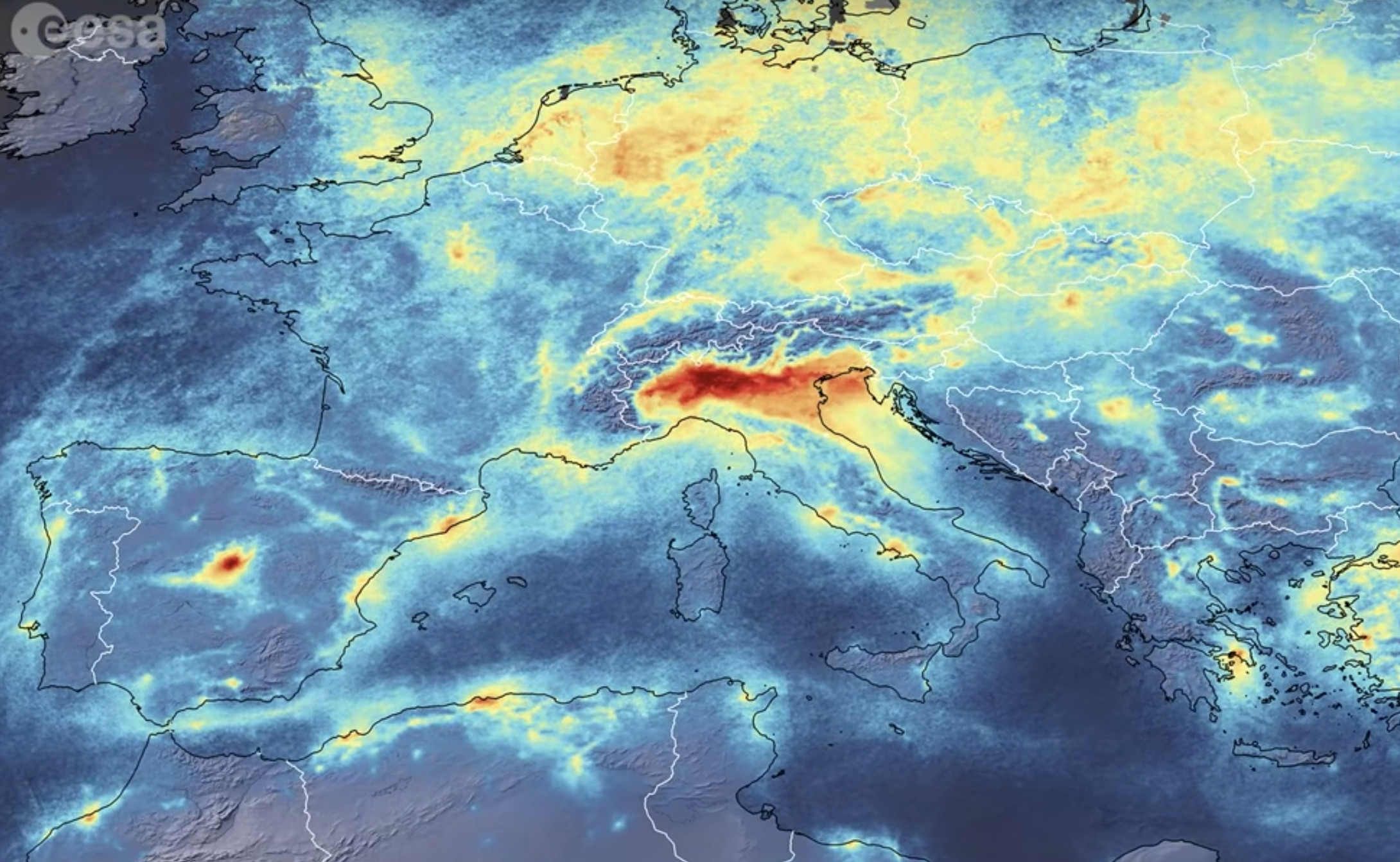 Airborne Nitrogen Dioxide Decreases Over Italy