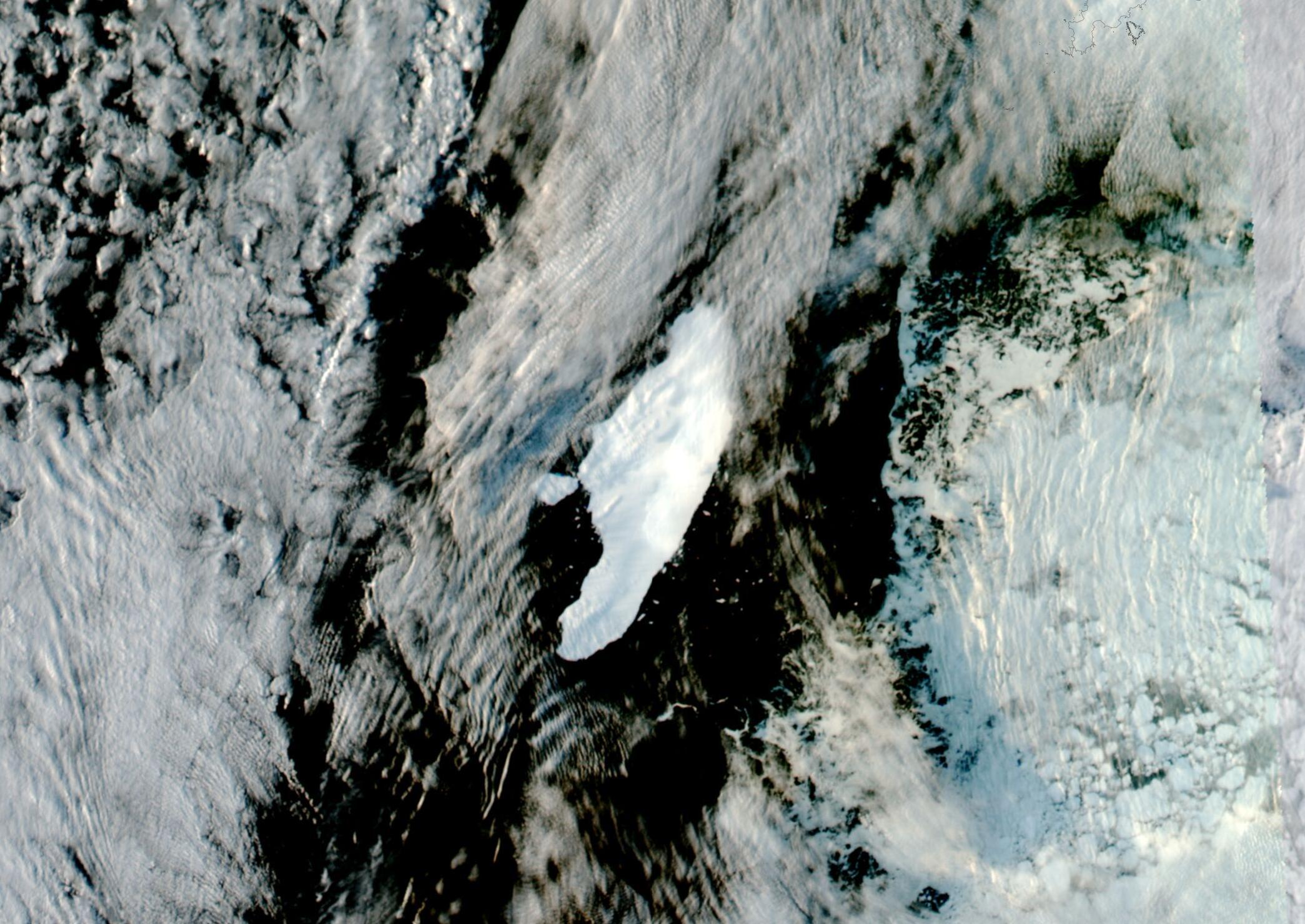 Antarctic Iceberg Breaks and Makes a New Berg