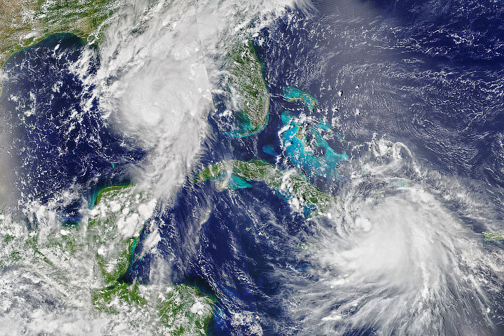 Hurricane Laura and Hurricane Marco making landfall on August 24, 2020.
