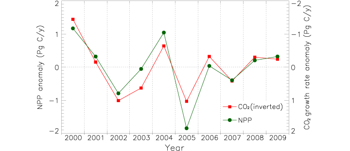 Graph of NPP anomaly versus inverted carbon dioxide growth rate anomaly.
