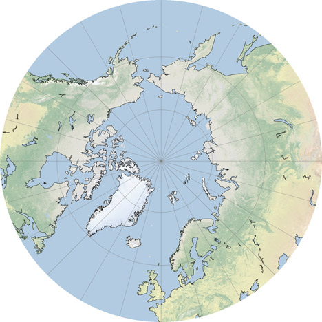 North Pole, stereographic projection.