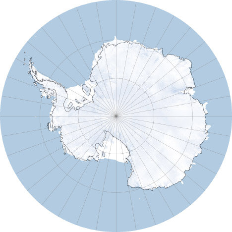 South Pole, stereographic projection.