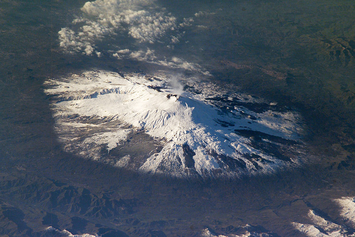 Photograph of Mount Etna from the International Space Station.