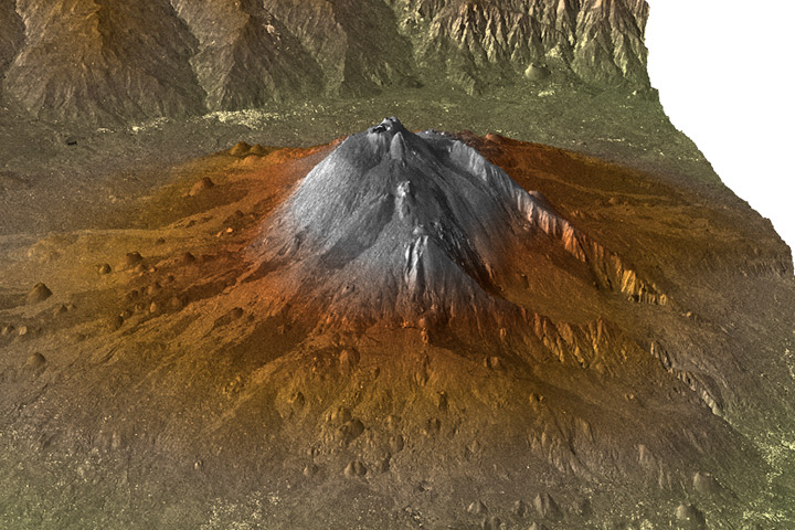 3D topographic image of Mount Etna.