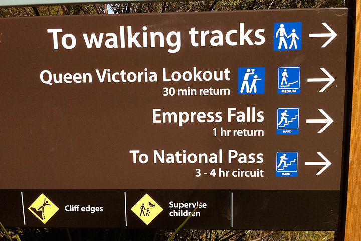 Sign showing the difficulty of hikes near Wentworth Falls.