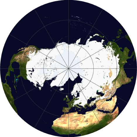 Northern Hemisphere map of snow and ice in an azimuthal equal area projection.