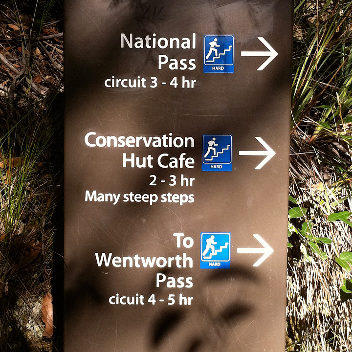 Signage along the National Pass trail.