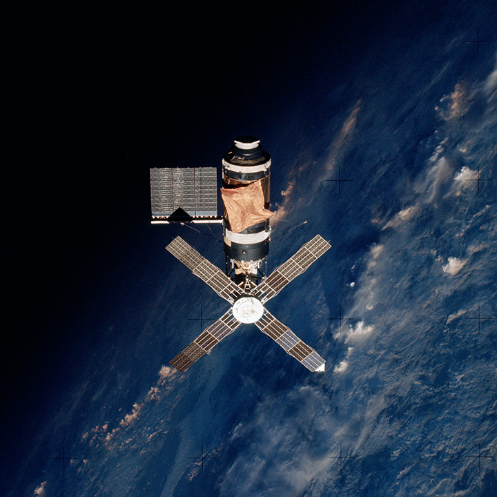 Skylab 2 above the Earth's terminator.
