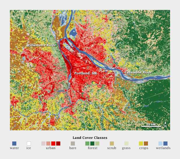 USGS map of land cover classification in and around Portland, Oregon