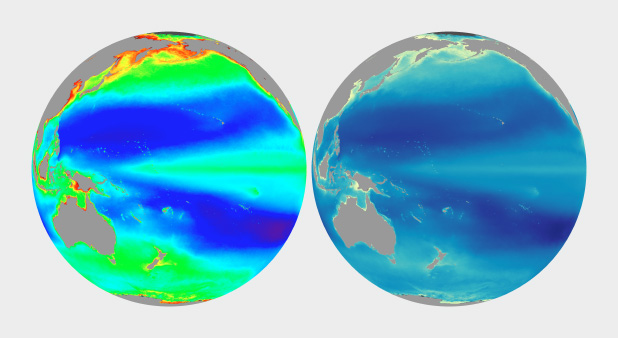 Rainbow And Naturalistic Palettes Applied To Ocean Color Roughly Equivalent Vegetation Data