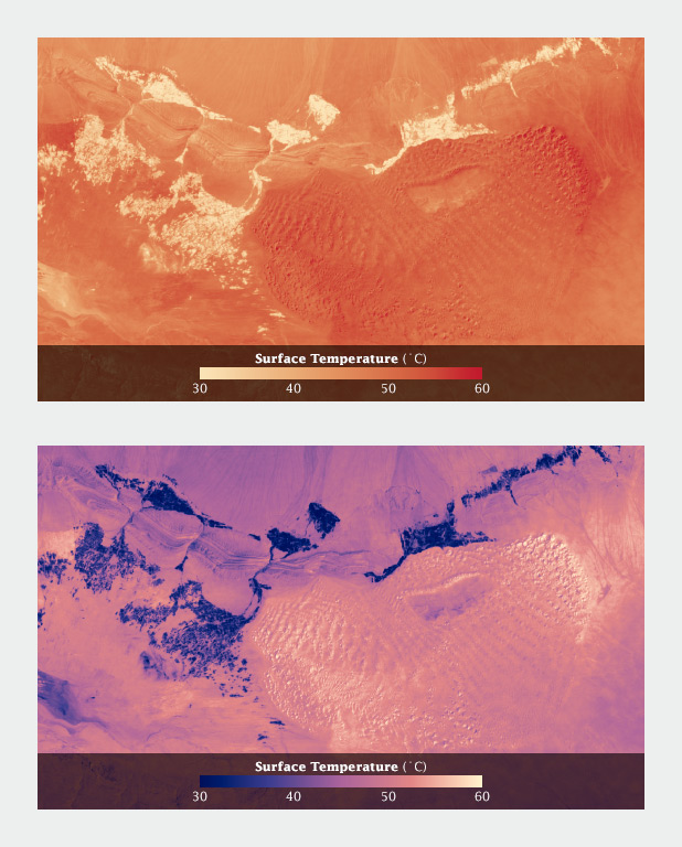 Two color scales applied to surface temperature maps in the Turpan desert, China.