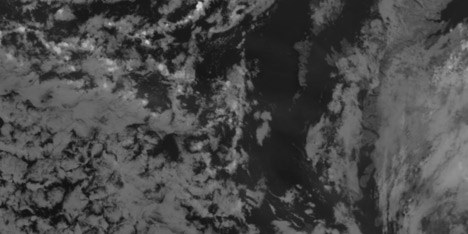 Thermal infrared image (inverted: cold clouds are white) of Eyjafjallajökull ash near Ireland and the U.K.