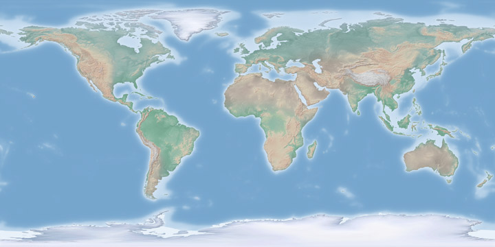 Cross-blended hypsometric tints global map.