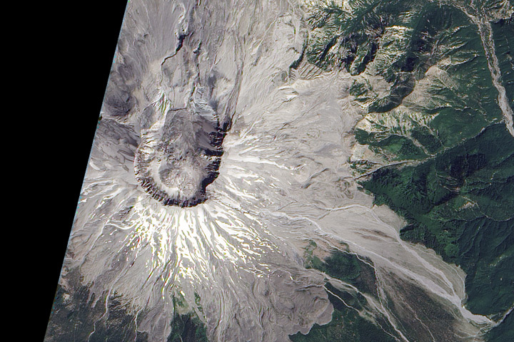 Satellite image of Mount St. Helens, August 23, 2010.
