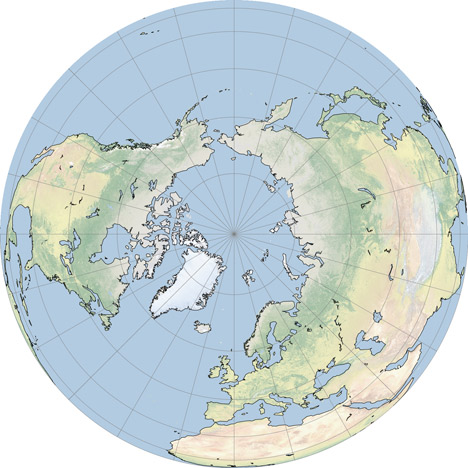 North Pole, orthographic projection