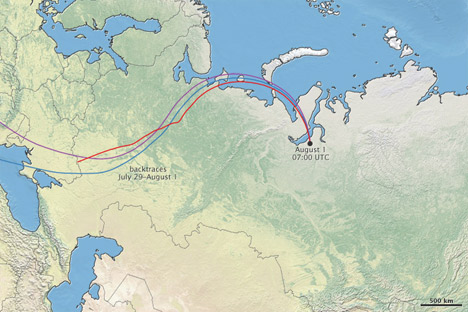 Map of Arctic Russia with backtraces.