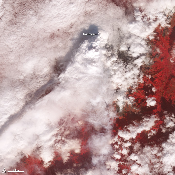 Satellite image of Kizimen Volcano.
