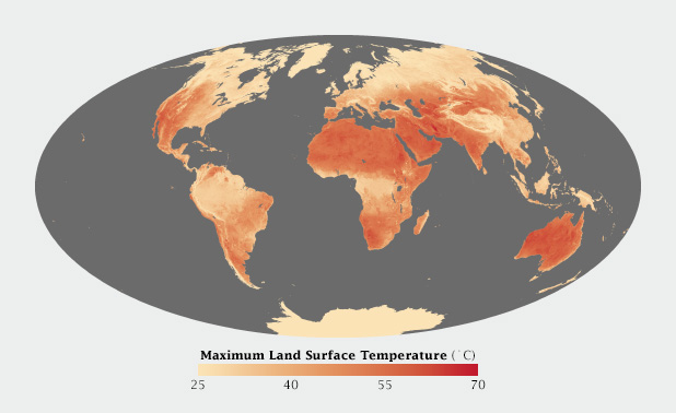 Map of the world's highest surface temperatures.