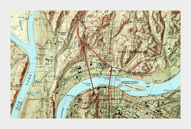 Vintage USGS topographic map of Chattanooga, Tennessee.