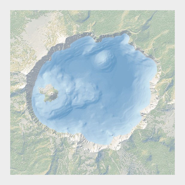 Topographic and bathymetric map of Crater Lake, Oregon.
