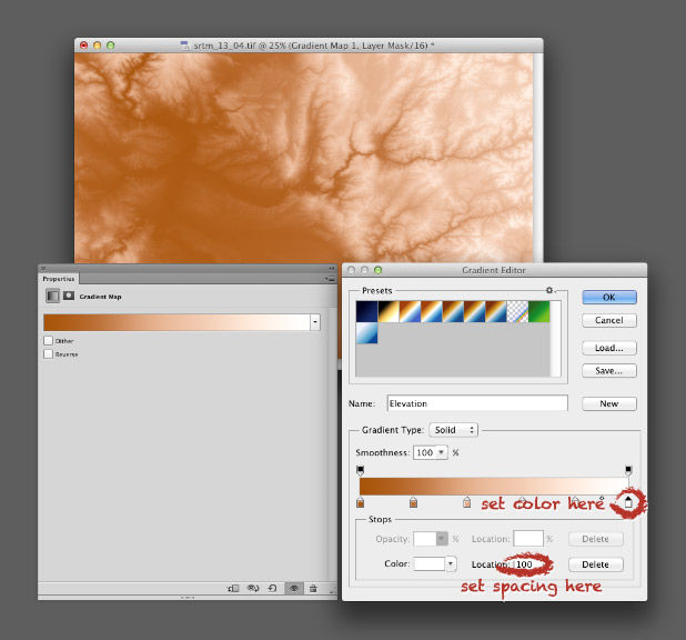 Screen shot of Adobe Photoshop gradient map.