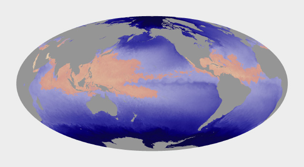 Map of Sea Surface Temperature that shows areas that sustain tropical cyclones.