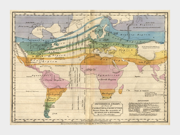 1823 map depicting temperature zones in color.
