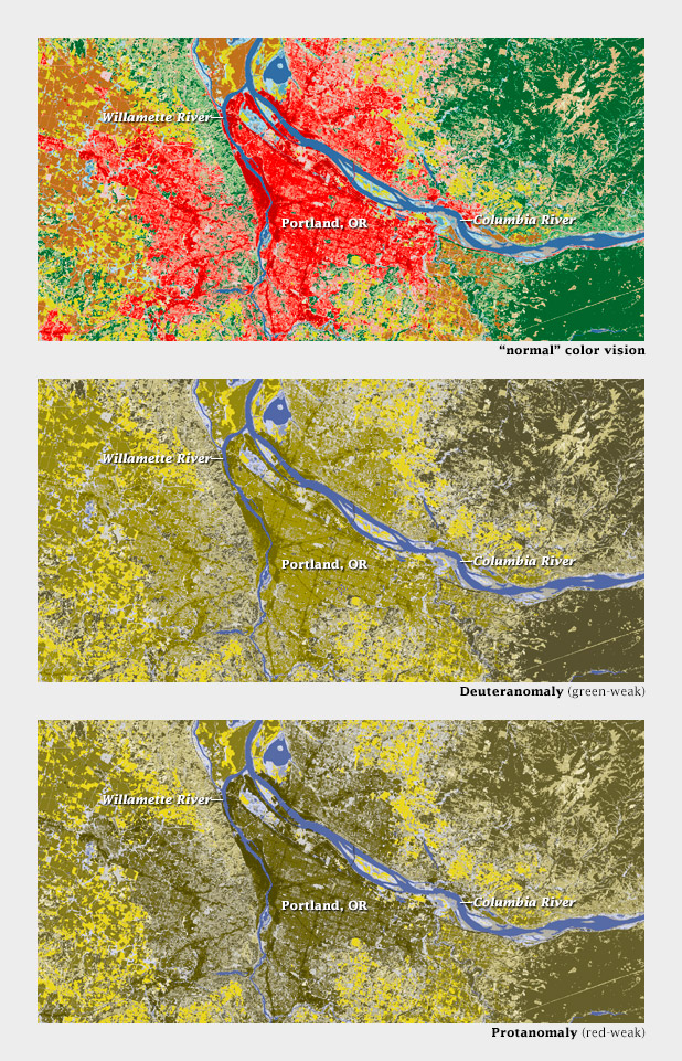 Comparison of land cover classification maps for normal and color-deficient viewers.