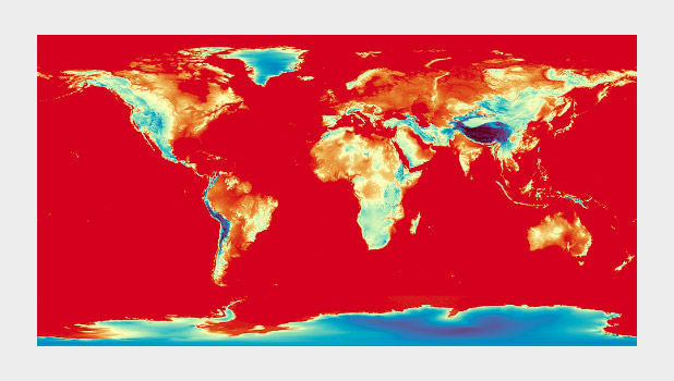 Spectral palette applied to global elevation data with D3.js.