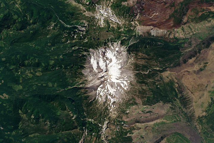 True-color Landsat 8 image of Mount Jefferson, Oregon.