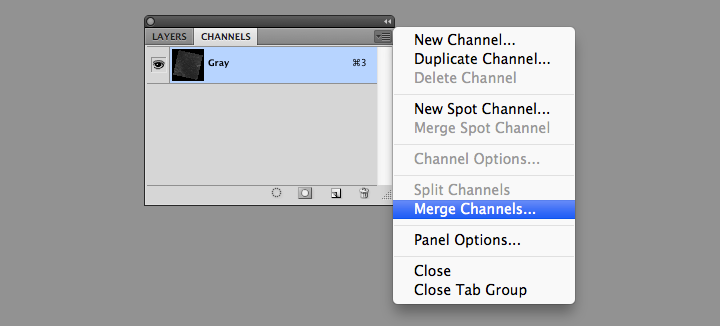 Photoshop Merge Channels command screenshot.