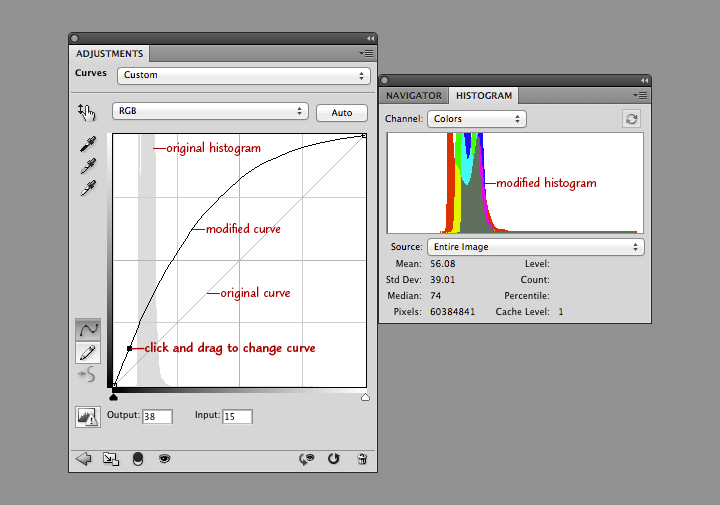 Curve palette and histogram screenshot.
