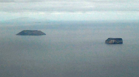 First view of the Galapagos Islands.