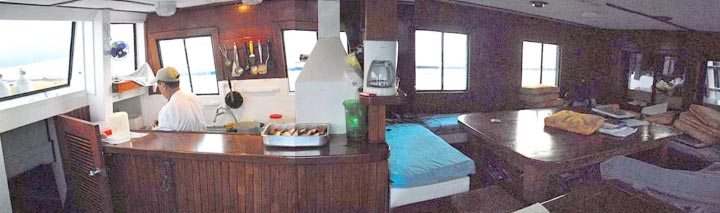 The main deck - the galley and salon