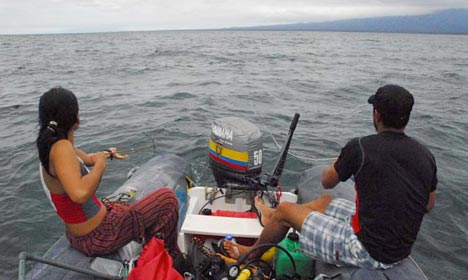 Cruising along in an inflatable panga.