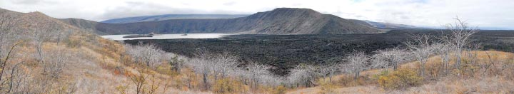 Photo of Beagle Crater from the south looking towards the north rim where Darwin made is descent.