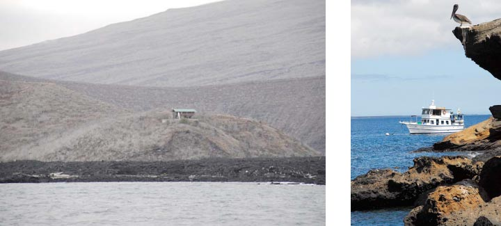 Photos of the GPS outpost and of the M/V Mabel anchored at outpost's beach