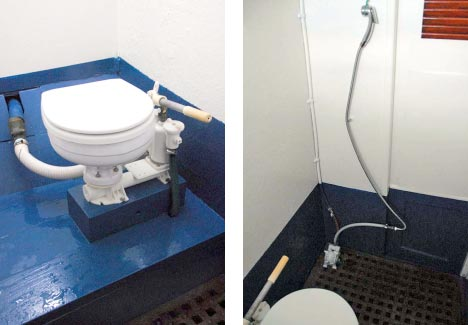 The basic bathroom and a foot-operated cold water shower