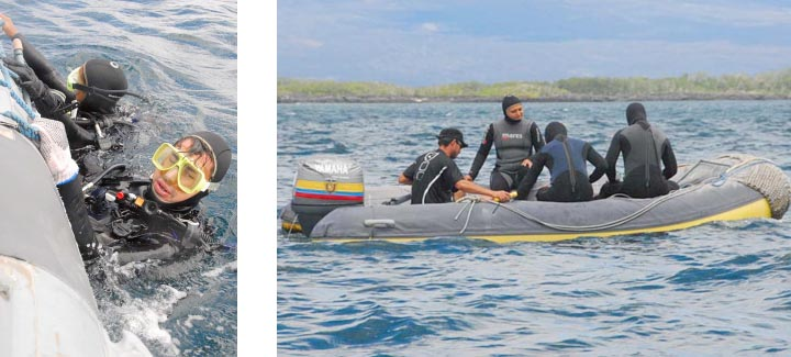 Out of the water, and onto the panga