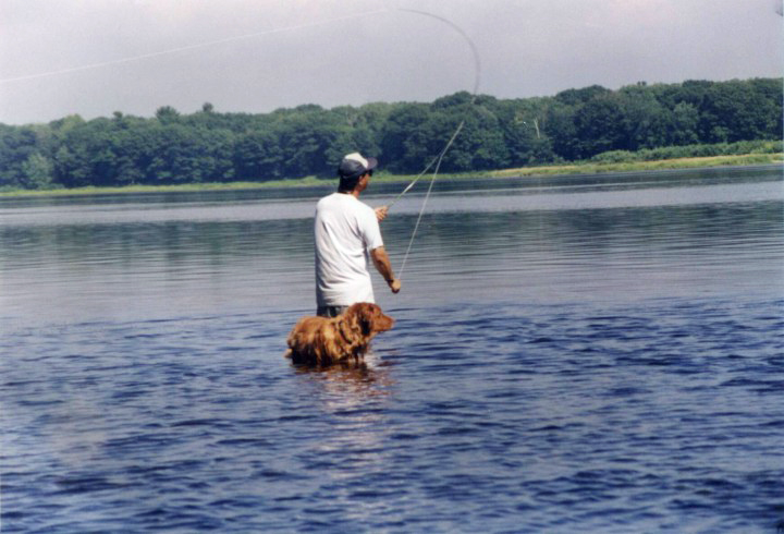 John Lee, from the University of Maine, fishing in the Penobscot River. The forests in the background are near the site of the Penobscot Experimental Forest.