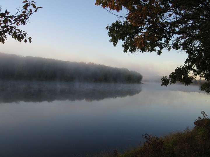 A view of the Penobscot river, with a light mist after a rain.  Photo by John Lee